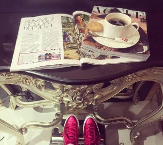 Coffee table and magazines