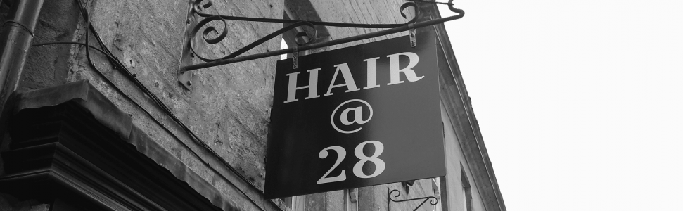 Hair@28 shop front signage